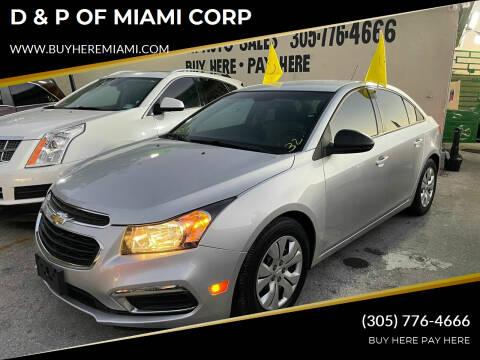 2015 Chevrolet Cruze for sale at D & P OF MIAMI CORP in Miami FL