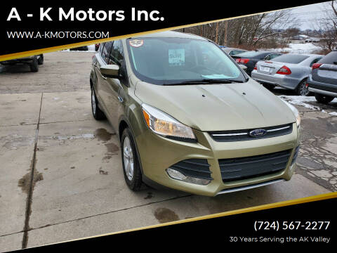 2013 Ford Escape for sale at A - K Motors Inc. in Vandergrift PA