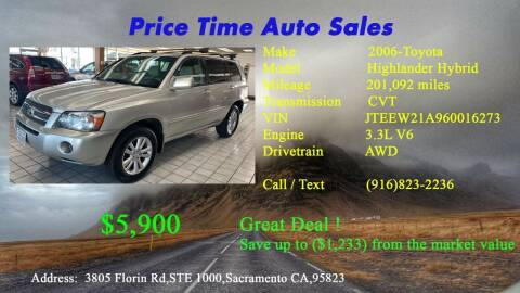 2006 Toyota Highlander Hybrid for sale at PRICE TIME AUTO SALES in Sacramento CA