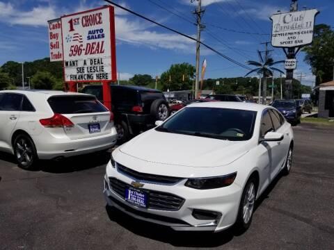 2016 Chevrolet Malibu for sale at 1st Choice Auto Sales in Newport News VA