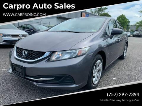 2014 Honda Civic for sale at Carpro Auto Sales in Chesapeake VA