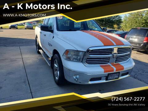 2016 RAM Ram Pickup 1500 for sale at A - K Motors Inc. in Vandergrift PA