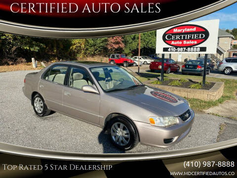 2002 Toyota Corolla for sale at CERTIFIED AUTO SALES in Severn MD