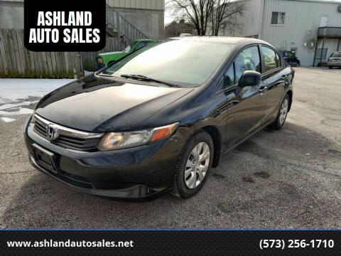 2012 Honda Civic for sale at ASHLAND AUTO SALES in Columbia MO