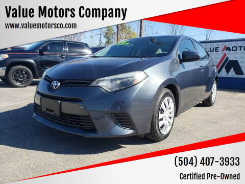 2015 Toyota Corolla for sale at Value Motors Company in Marrero LA