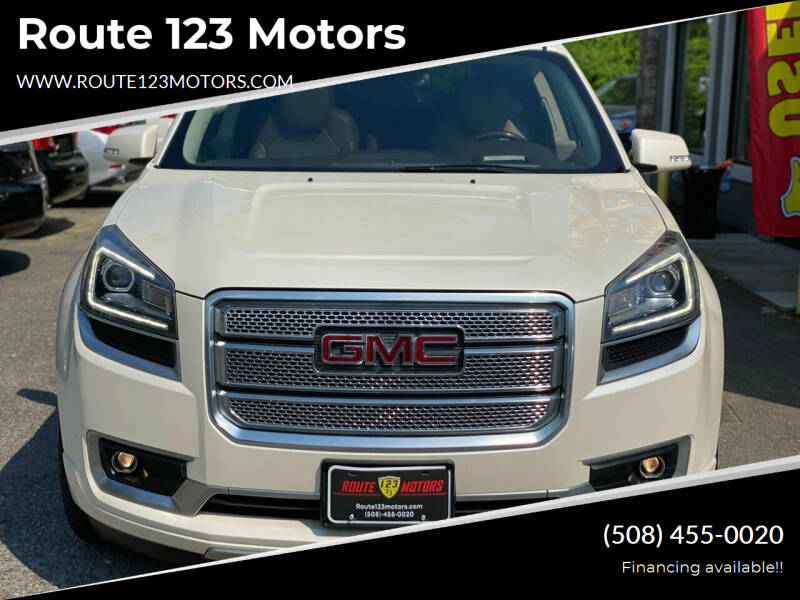 2014 GMC Acadia for sale at Route 123 Motors in Norton MA