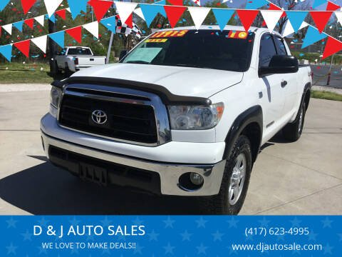 2010 Toyota Tundra for sale at D & J AUTO SALES in Joplin MO