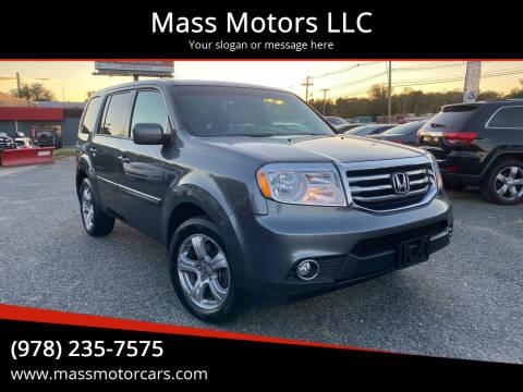 2013 Honda Pilot for sale at Mass Motors LLC in Worcester MA