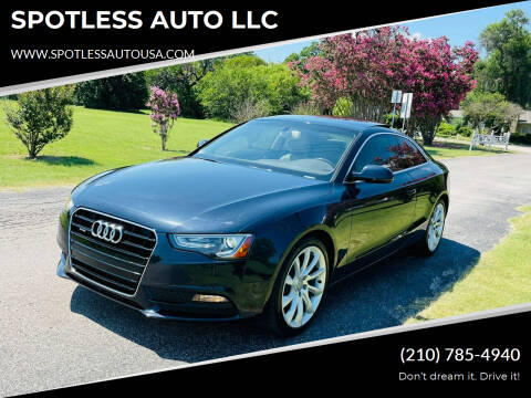 2014 Audi A5 for sale at SPOTLESS AUTO LLC in San Antonio TX