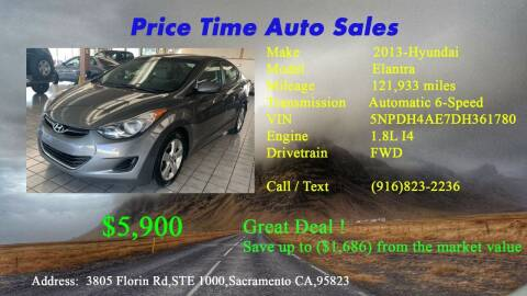 2013 Hyundai Elantra for sale at PRICE TIME AUTO SALES in Sacramento CA