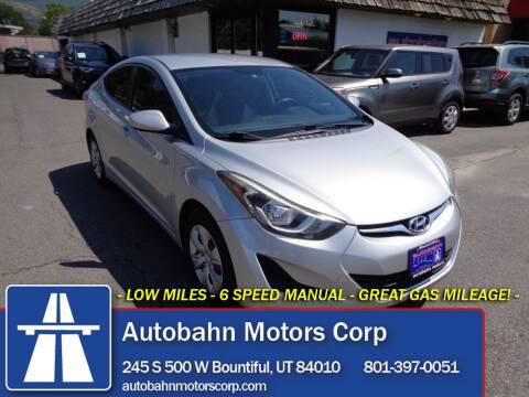 2016 Hyundai Elantra for sale at Autobahn Motors Corp in Bountiful UT