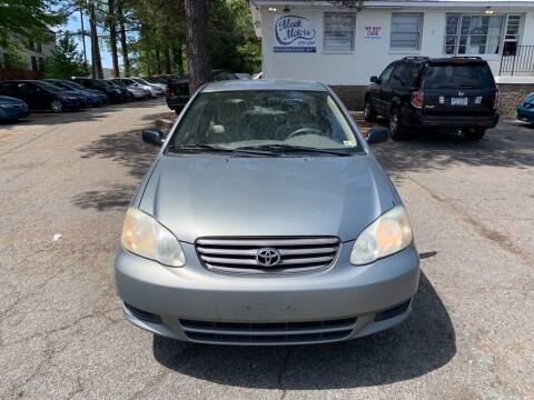 2003 Toyota Corolla for sale at MEEK MOTORS in North Chesterfield VA