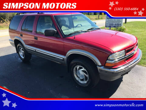 2000 Chevrolet Blazer for sale at SIMPSON MOTORS in Youngstown OH