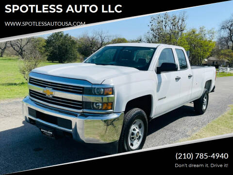 2015 Chevrolet Silverado 2500HD for sale at SPOTLESS AUTO LLC in San Antonio TX