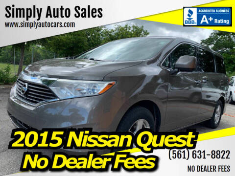 2015 Nissan Quest for sale at Simply Auto Sales in Palm Beach Gardens FL
