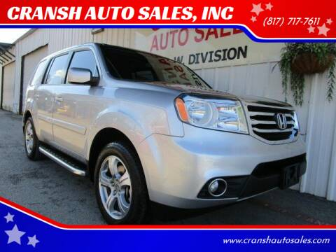 2013 Honda Pilot for sale at CRANSH AUTO SALES, INC in Arlington TX