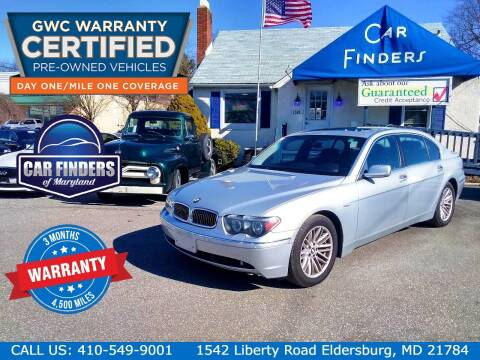 2005 BMW 7 Series for sale at CAR FINDERS OF MARYLAND LLC - Certified Cars in Eldersburg MD