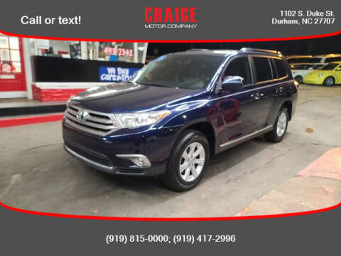 2013 Toyota Highlander for sale at CRAIGE MOTOR CO in Durham NC