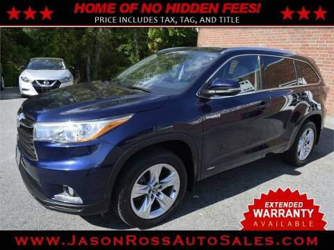 2016 Toyota Highlander Hybrid for sale at Jason Ross Auto Sales in Burlington NC