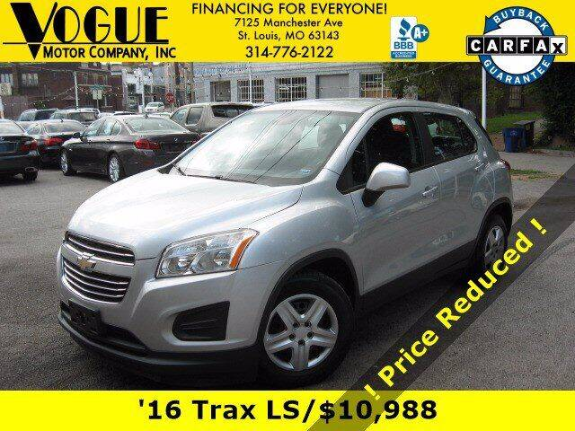 2016 Chevrolet Trax for sale at Vogue Motor Company Inc in Saint Louis MO
