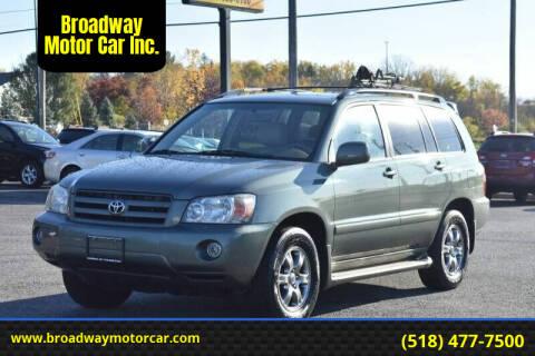 2004 Toyota Highlander for sale at Broadway Motor Car Inc. in Rensselaer NY