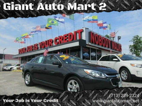 2015 Chevrolet Malibu for sale at Giant Auto Mart 2 in Houston TX