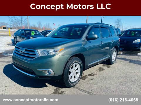 2011 Toyota Highlander for sale at Concept Motors LLC in Holland MI
