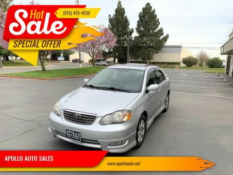 2007 Toyota Corolla for sale at APOLLO AUTO SALES in Sacramento CA