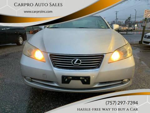2007 Lexus ES 350 for sale at Carpro Auto Sales in Chesapeake VA