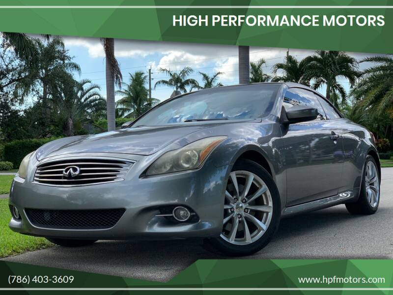 2011 Infiniti G37 Convertible for sale at HIGH PERFORMANCE MOTORS in Hollywood FL