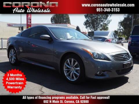 2014 Infiniti Q60 Coupe for sale at Corona Auto Wholesale in Corona CA