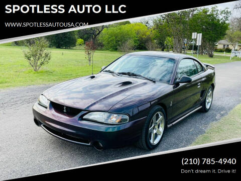 1996 Ford Mustang SVT Cobra for sale at SPOTLESS AUTO LLC in San Antonio TX