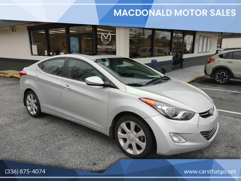 2013 Hyundai Elantra for sale at MacDonald Motor Sales in High Point NC