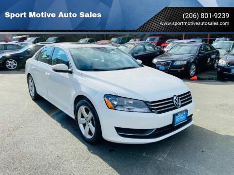 2012 Volkswagen Passat for sale at Sport Motive Auto Sales in Seattle WA