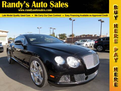2015 Bentley Continental for sale at Randy's Auto Sales in Ontario CA