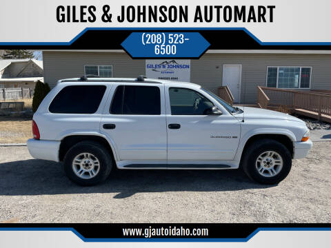 2001 Dodge Durango for sale at GILES & JOHNSON AUTOMART in Idaho Falls ID