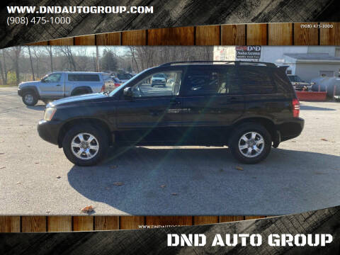 2003 Toyota Highlander for sale at DND AUTO GROUP in Belvidere NJ