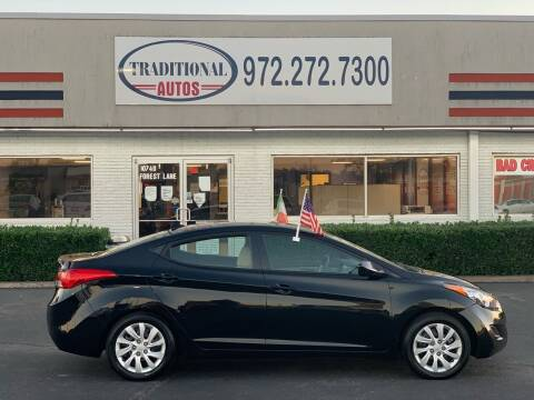2012 Hyundai Elantra for sale at Traditional Autos in Dallas TX