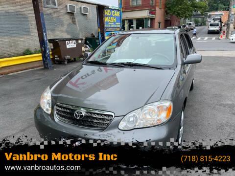 2008 Toyota Corolla for sale at Vanbro Motors Inc in Staten Island NY