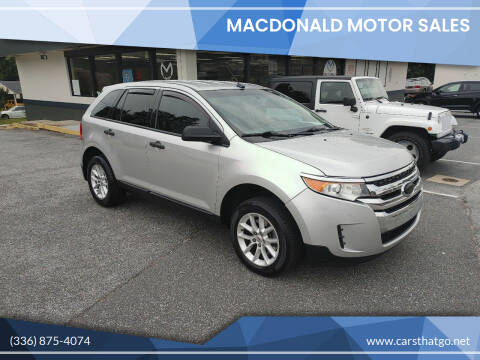 2013 Ford Edge for sale at MacDonald Motor Sales in High Point NC
