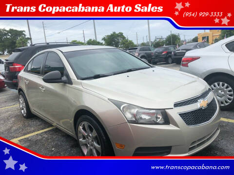 2013 Chevrolet Cruze for sale at Trans Copacabana Auto Sales in Hollywood FL