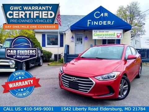 2018 Hyundai Elantra for sale at CAR FINDERS OF MARYLAND LLC - Certified Cars in Eldersburg MD