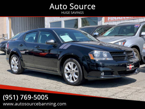 2014 Dodge Avenger for sale at Auto Source in Banning CA