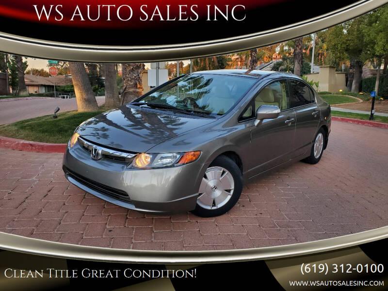 2008 Honda Civic for sale at WS AUTO SALES INC in El Cajon CA