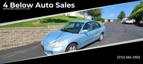 2005 Honda Civic for sale at 4 Below Auto Sales in Willow Grove PA