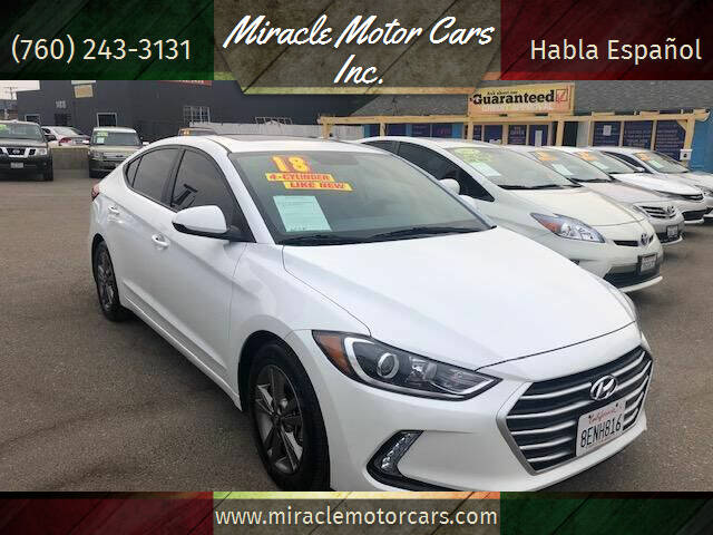 2018 Hyundai Elantra for sale at Miracle Motor Cars Inc. in Victorville CA