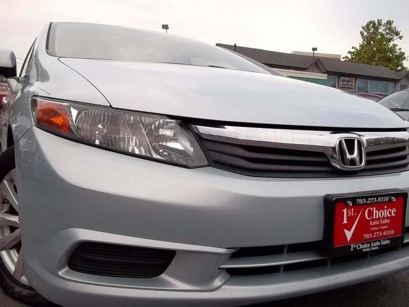 2012 Honda Civic for sale at 1st Choice Auto Sales in Fairfax VA