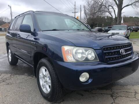 2002 Toyota Highlander for sale at Creekside Automotive in Lexington NC