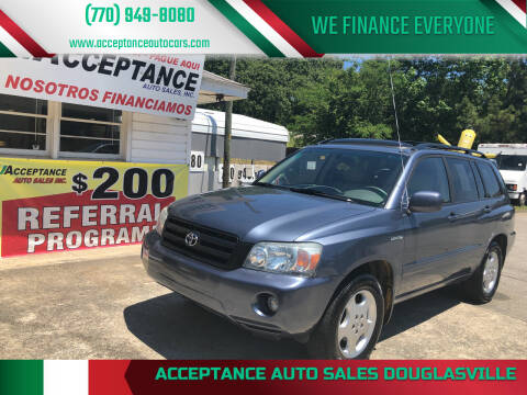 2004 Toyota Highlander for sale at Acceptance Auto Sales Douglasville in Douglasville GA