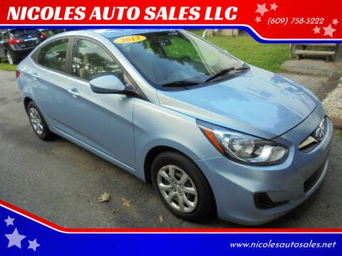 2013 Hyundai Accent for sale at NICOLES AUTO SALES LLC in Cream Ridge NJ